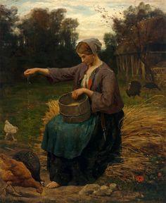 Jules Breton - Jeune Femme Nourrissant ses volailles 1860