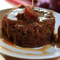 Sticky toffee pudding with hot toffee sauce @ allrecipes.co.uk. Just made the sauce, super rich, fantastic on ginger cake but needed vanilla ice cream to cut through richness YUM!!