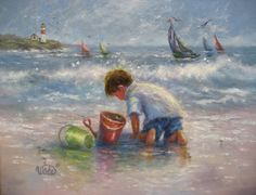 Beach Boy Art Print beach paintings boy on by VickieWadeFineArt