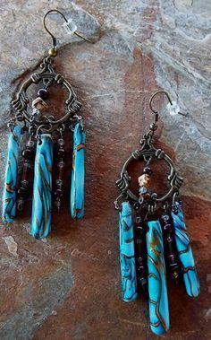 Boho Evening Chandelier Earrings | ClayfulIntentions - Jewelry on ArtFire