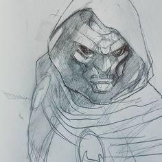 doctor doom sketch by Peter-v-Nguyen on DeviantArt Comic Book Heroes, Comic Books Art, Realistic Drawings, My Drawings, Doctor Doom, Character Drawing, Character Design, Kickass Comic, Marvel Comics Art