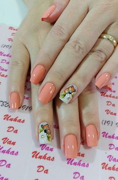 Ideias de unhas decoradas, unhas decoradas delicadas, unhas rosa decoradas, unhas decoradas com Fancy Nails, Cute Nails, Peach Nails, Different Nail Designs, Nail Patterns, Flower Nail Art, Pretty Nail Art, Nail Polish Colors, Manicure And Pedicure