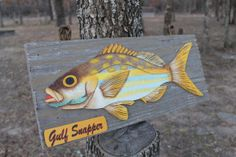 Vintage Seafood Restaurant display board - GULF SNAPPER - Freshwater Fish display