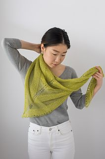 This modern shawl's clean geometry is highlighted by transparent striping. Staccato and Silk Cloud (or Twig and Silk Cloud in Shibui Re-Mix) are paired in complementary colorways, providing a contrast between solid and ethereal. Its versatile triangular shape provides a variety of styling options--drape it across the shoulders for a traditional look, or wrap closely around the neck for a scarf-like approach.