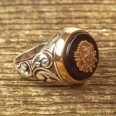 Sultan Suleıman Ottoman Coat Of Arms Motif Onyx Stone Silver Man Ring 925ct #Handmade