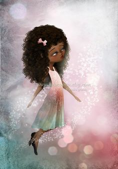 african american fantasy art   Fantasy Fine Art Print African American Girl In Pinks and Greens ...