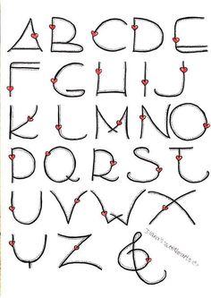 AlphabetLettering Alphabet Love calligraphy bullet journal lettering tips calligraphie carnet bujo Heart Alphabet by Bilingual Scrapbook Graffiti Alphabet, Hand Lettering Alphabet, Doodle Lettering, Creative Lettering, Lettering Styles, Calligraphy Letters, Brush Lettering, Alphabet Fonts, Bullet Journal Font