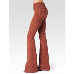 PAIGE High Rise Bell Canyon - Burnt Cayenne Corduroy (245 CAD) ❤ liked on Polyvore featuring jeans, burnt cayenne corduroy, denim, pants, sexy jeans, white slim fit jeans, corduroy jeans, white flare jeans and high waisted flare jeans
