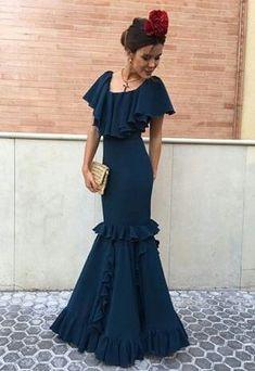 Modern take on the flamenco dress Flamenco Costume, Blue Dresses, Formal Dresses, Spanish Fashion, Mexican Dresses, Cheongsam, Traditional Dresses, Lehenga, The Dress