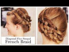 Diagonal five-strand French braid