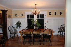 Yellow Dining Room--Spring 2013  Wainscoting, Double French Doors