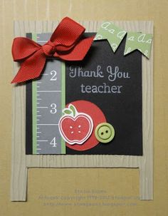 Stampin' & Scrappin' with Stasia: Thank you teacher Teacher Appreciation Cards, Teacher Thank You Cards, Teacher Gifts, Handmade Teachers Day Cards, Retirement Cards, Scrapbooking, Kids Cards, Cute Cards, Homemade Cards