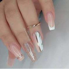 Acrylic Nails Coffin Short, Best Acrylic Nails, Red Nails, Hair And Nails, Clear Glitter Nails, Glamour Nails, Modern Nails, Nails Only, Crazy Nails