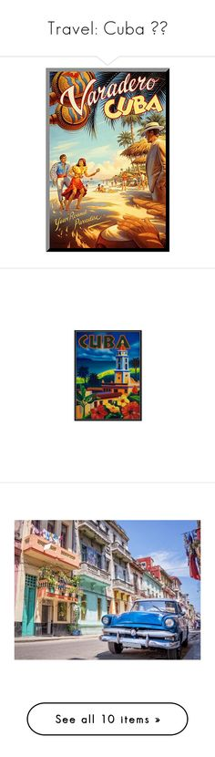 """""""Travel: Cuba 🇵🇷"""" by alyssawui ❤ liked on Polyvore featuring home, home decor, wall art, blue, wooden home accessories, wooden wall art, wood home decor, vertical wall art, blue home accessories and cuba poster"""