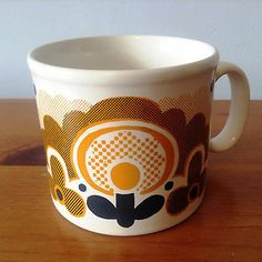 Vintage 1970s Staffordshire Potteries Mug Funky Floral Retro Design Orange Brown