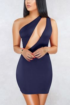 Dark-blue Cutout One Shoulder Sleeveless Sexy Bodycon Dress. Pleated DressesDresses  DressesMini DressesClub DressesParty ... 48a695c92ce6