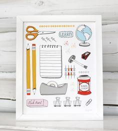 School Supplies Art Print by Sloe Gin Fizz on Scoutmob