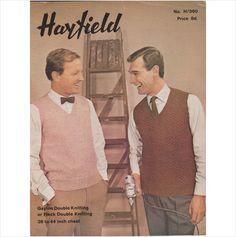 Vintage Knitting Pattern, Hayfield, Mens Sleeveless Pullovers, 360 on eBid United Kingdom
