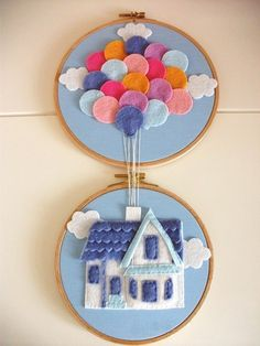 Ballons Above a house out of felt