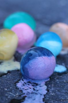 Awesome! Frozen Ice Chalk Marbles by readingconfetti
