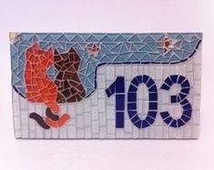 Número para Casa Gatos em mosaico