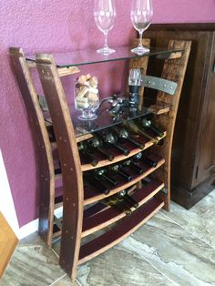 Reclaimed Wine Barrel Stave Wine Rack with Shelves Wine Barrel Crafts, Whiskey Barrel Furniture, Barris, Wine Rack Plans, Cocktails Bar, Rustic Wine Racks, Wine Shelves, Wine Decor, Bourbon Barrel