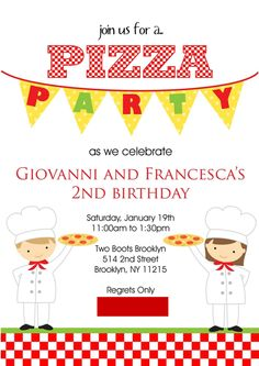 pizza party invitation for boygirl twins - Pizza Party Invitation