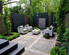 Modern landscape design ideas modern backyard landscaping designs modern backyard patio with great privacy screening garden in backyards designs plans Backyard Seating, Small Backyard Landscaping, Modern Landscaping, Backyard Patio, Landscaping Ideas, Patio Ideas, Small Patio, Fence Ideas, Backyard Ideas