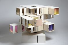 through a collection of simulated exterior spaces, the 'outside/in' doll's house by UK designers shedkm and james ireland can be played with like a large rubik's cube puzzle.