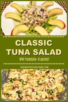Classic Tuna Salad is a filling, healthy, delicious entree salad that's Weight Watchers friendly (ZERO points Freestyle), and is ready in 10 minutes! What Is Healthy Food, Healthy Foods To Make, Healthy Food List, Healthy Diet Recipes, Healthy Eating, Ww Recipes, Lunch Recipes, Salad Recipes, Healthy Life