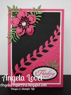 Thinking of you card features the inlaid die cut technique using the Stampin' Up! Botanical Builders framelits available from my online store: http://www3.stampinup.com/ECWeb/ProductDetails.aspx?productID=140625&dbwsdemoid=4011749 #angelaspaperarts #Occasions2016 #BotanicalGardensSuite