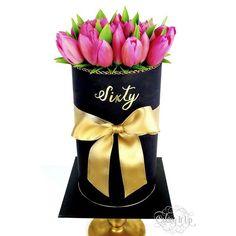 A gorgeous cake for a lovely lady celebrating her 60th birthday. Fresh hot pink tulips arranged on top of a striking black cake to resemble a flower box. Flowers by @leppingtonflorist #freshflowers #tulips #blackcake #gold #handpainted #fondant #cake #cakedecorating #cakedesign #sydneycakedecorators #instacakes #cakingitup #leppingtonflorist