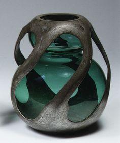 Vase, ca. 1901–6, Designer: Max Läuger (German), Glass, pewter