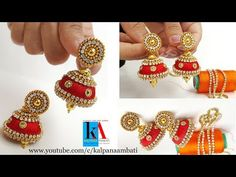 How to make bridal jhumkas using pearl / stone / chain and gold drop chain tutorial - YouT. Silk Thread Jumkas, Silk Thread Bangles Design, Silk Thread Necklace, Silk Bangles, Bridal Bangles, Thread Jewellery, Paper Earrings, Handmade Jewelry Designs, Earring Tutorial