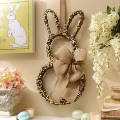 Celebrate Easter with the homespun charm of the Easter Bunny Wreath! #kirklands #BunnyLove