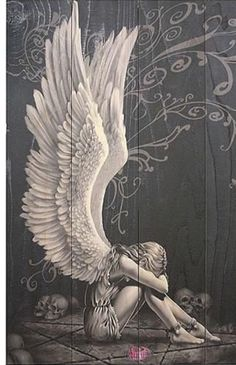Mi angel esta triste Dark Fantasy Art, Dark Art, Angel Wings Drawing, Angel Artwork, Cool Chest Tattoos, Desenho Tattoo, Angel Pictures, Aesthetic Painting, Angels And Demons