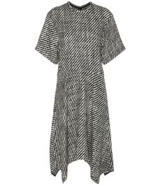 Isabel Marant - Ines wool dress - Isabel Marant's wool dress falls in a fluid, draped silhouette that imbues uncomplicated cool. The black and ivory woven design creates an eye-catching finish, while the midi length, high neckline and T-shirt-style sleeves bring a modest mood. Punctuate yours with red leather knee-high boots for a dash of colour. seen @ www.mytheresa.com