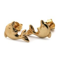 14k Yellow Gold Dolphin Stud Earrings