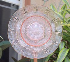 Pink Depression Glass Repurpose Plate Flower .