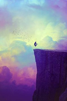 silhouette of girl jumping off a cliff color art