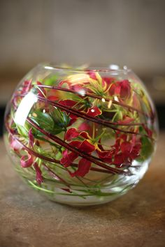 Much larger, lower bowl Tropical Centerpieces, Orchid Centerpieces, Vase Arrangements, Ikebana, Deco Floral, Arte Floral, Flower Bowl, Flower Vases, Corporate Flowers