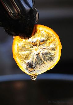 Candied Meyer Lemons Use to garnish cakes and other baked goods, keeps 1 month in fridge. 4 Meyer lemons (or two regular lemons) ice water 2 cups granulated sugar 2 cups water