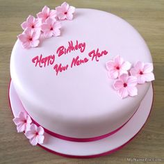 Best #1 Website for name birthday cakes. Write your name on Pink Birthday Cakes picture in seconds. Make your birthday awesome with new happy birthday greetings cakes. Get unique happy birthday cake with name.