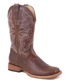 Look what I found on #zulily! Roper Brown Wide Square Toe Traditional Cowboy Boot - Women by Roper #zulilyfinds