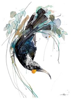 Official Rachel Walker Page. New Zealand watercolour, spray paint, pen and ink artist creating splashy celebrations of native and rare animals. Watercolor Animals, Watercolor And Ink, Watercolor Paintings, Watercolor Trees, Watercolor Portraits, Watercolor Landscape, Abstract Paintings, Watercolours, Art Paintings