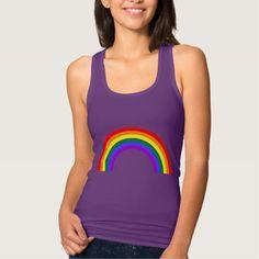 Rainbow Shape Purple Rush T-shirt - Create Your Own Custom Women's Slim Fit Racerback Tank Top