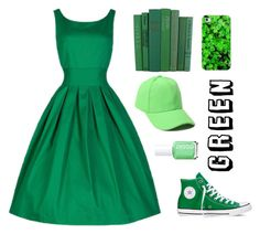 """Green"" by chocolart on Polyvore featuring Converse, Casetify and Essie"