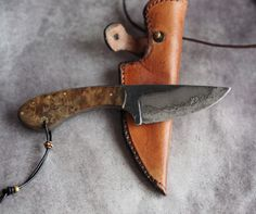 Custom EDC neck knife small fixed blade knife alder by HKnives
