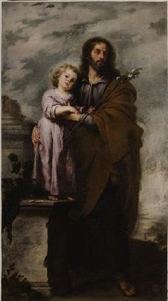 Joseph with the Infant Christ - Bartolome Esteban Murillo.  1665-68.  Oil on canvas.  Museum of Fine Arts, Seville, Spain.