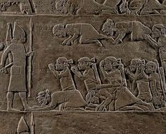 ASSUR RELIEF 10TH-6TH BCE Assyrian officer presents a new king to the vanquished Elamites at Madaktu after the battle of Til Tuba. Stone bas-relief (7th BCE) from the palace of Ashurbanipal in Niniveh, Mesopotamia (Iraq). British Museum, London, Great Britain